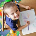 preschool boy coloring