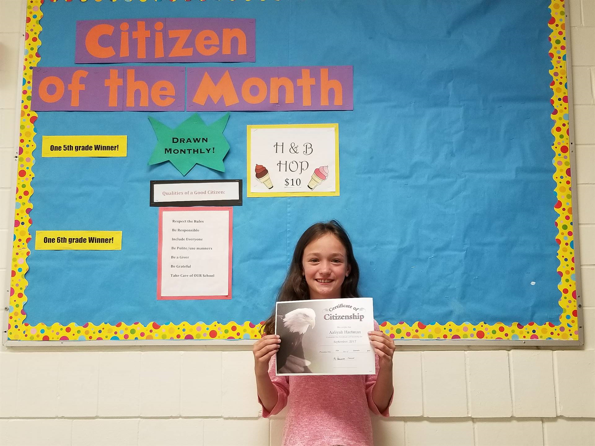 September, 2017 5th Grade Citizen of the Month