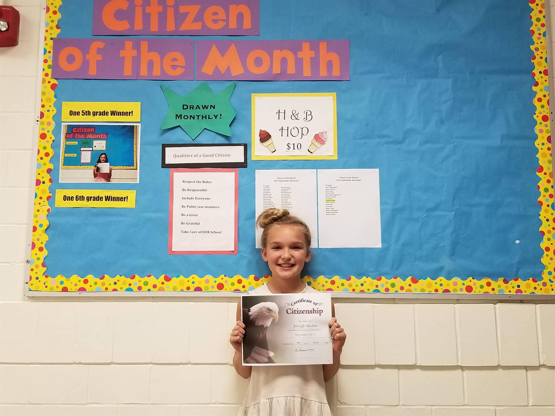 September, 2017 6th Grade Citizen of the Month