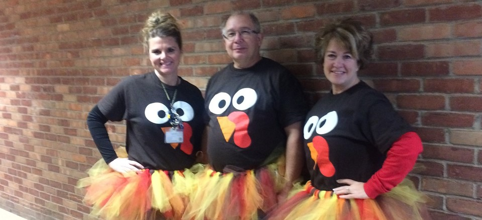 Mrs. Cook, Mr. Twary, and Mrs. Heitsche from Pleasant Elementary get festive for Thanksgiving