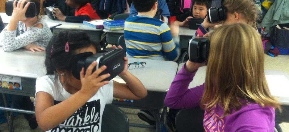 Students explored the moon on a recent virtual reality field trip