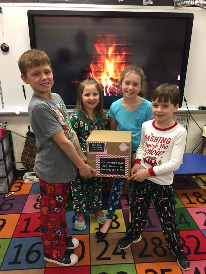 Students received letters and candy from Santa