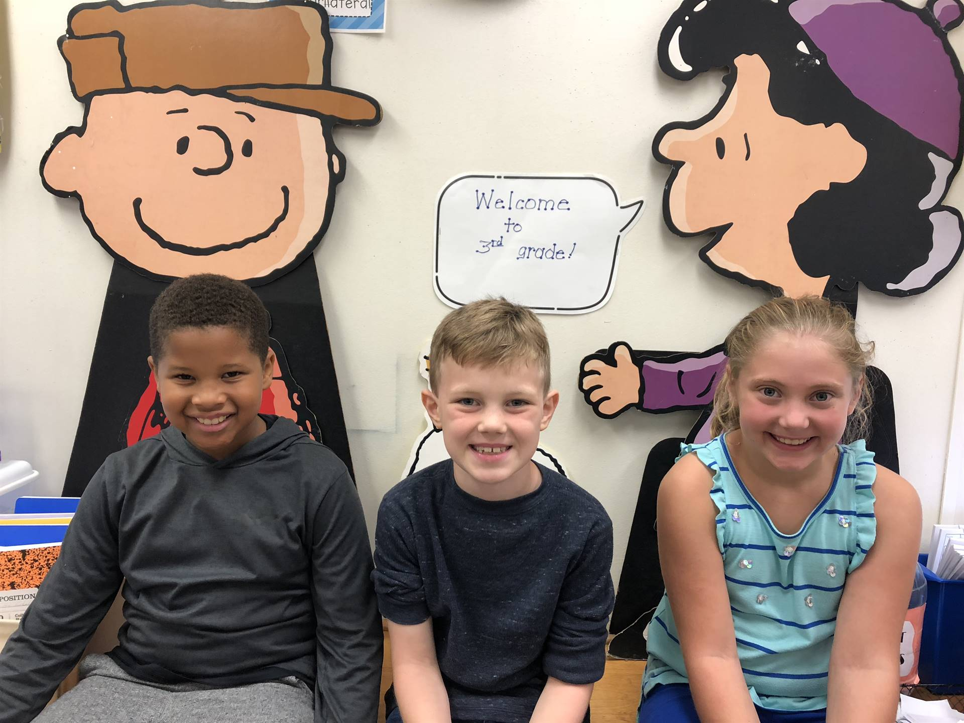 Students in Mrs. Adkinson's class happy to be at school