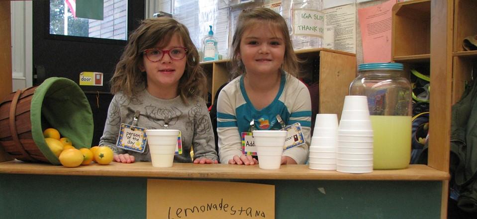 Preschool Students enjoy their lemonade stand