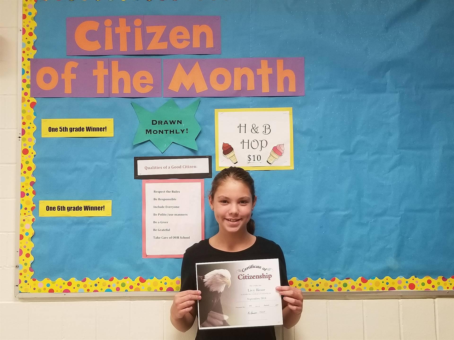 5th Grade Citizen of the Month - September, 2018