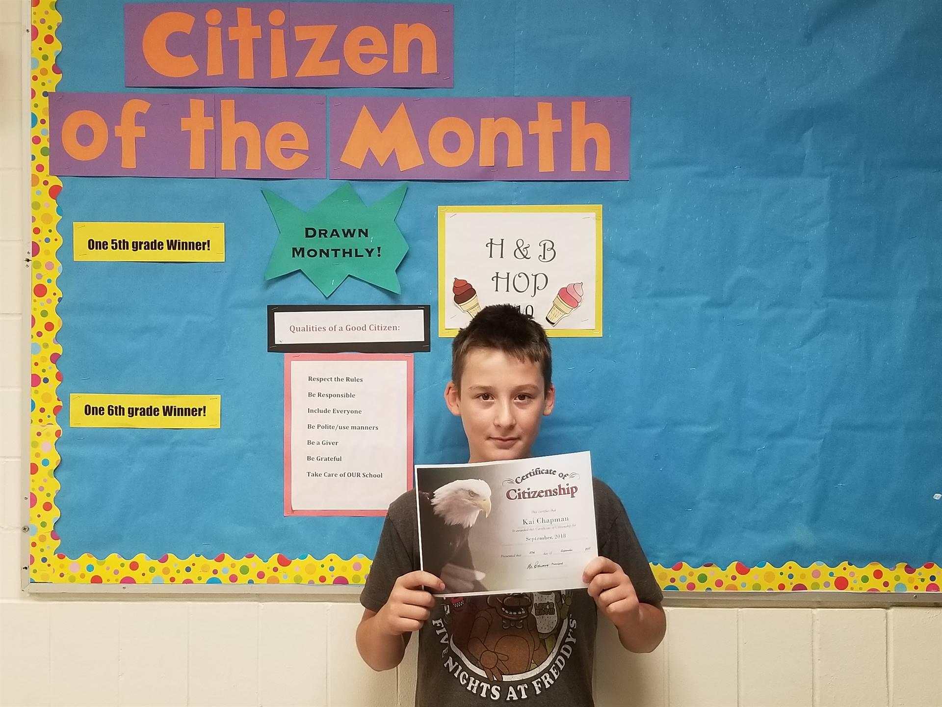 6th Grade Citizen of the Month - September, 2018