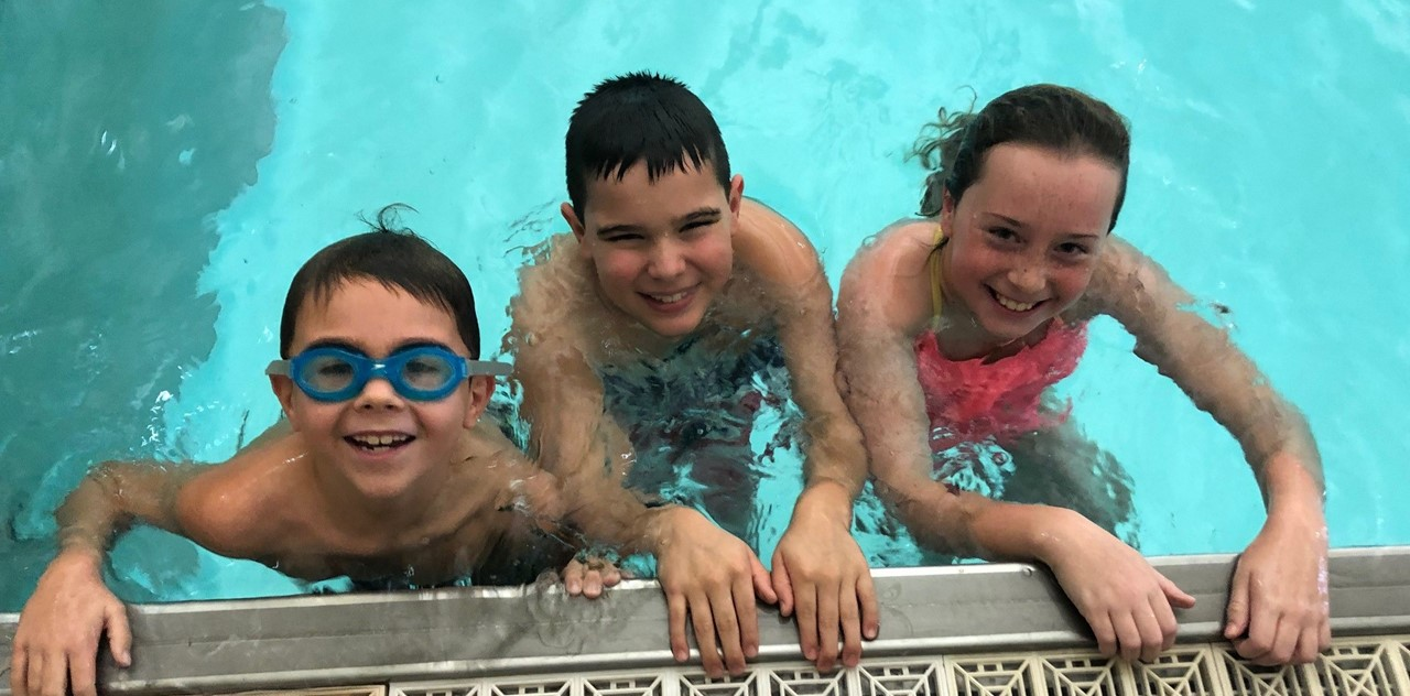 Students participating in the 3rd grade swim program at the Rec Center