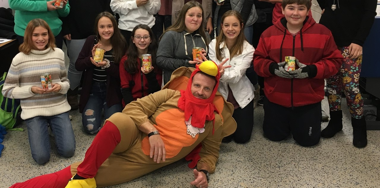 Students collected 3854 items for the Salvation Army  Holiday Can Food Drive organized by Student Council.  Principal, Mr. Swartz, agreed to dress as a turkey if we were able to meet our goal of 2000.