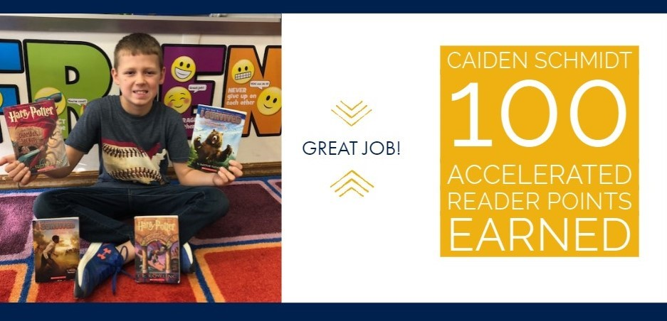 Caiden Schmidt has already earned 100 Accelerated Reader Points