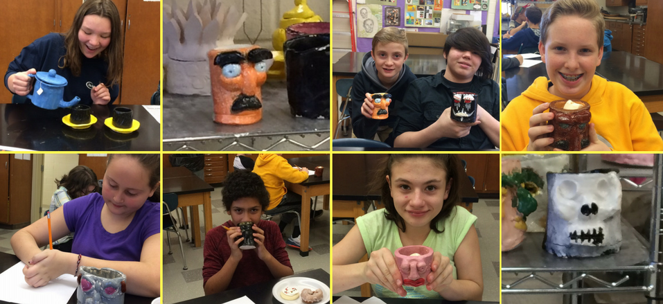 Middle School students - clay mugs
