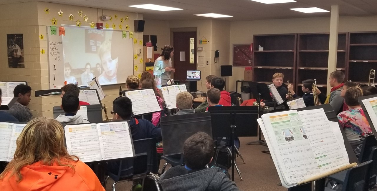 6th grade Beginning Band students Skype with music students from Poland
