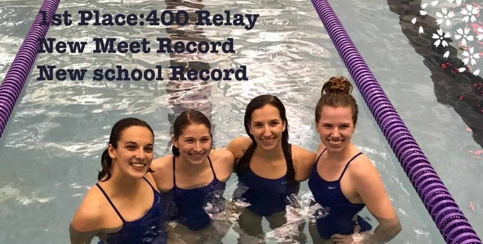 Girls 400 Relay team won first place, new meet record, new school record