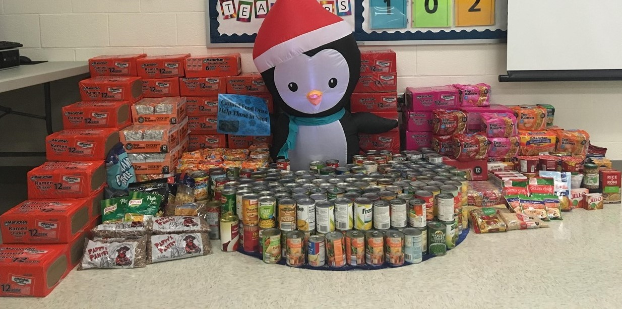 Students collected 1466 items in Mr. Karnehm's classes for the food drive