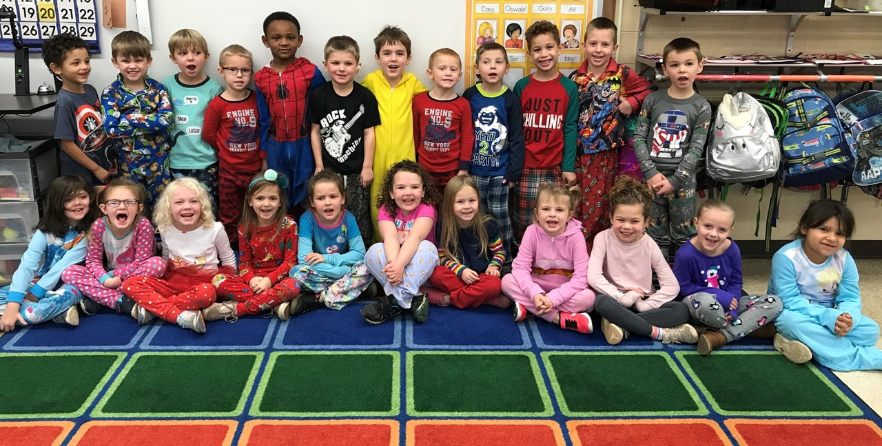 Mrs. Seitz's students enjoying pj day