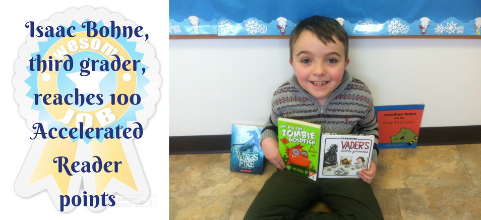 Isaac Bohne reaches 100 Accelerated Reader Points