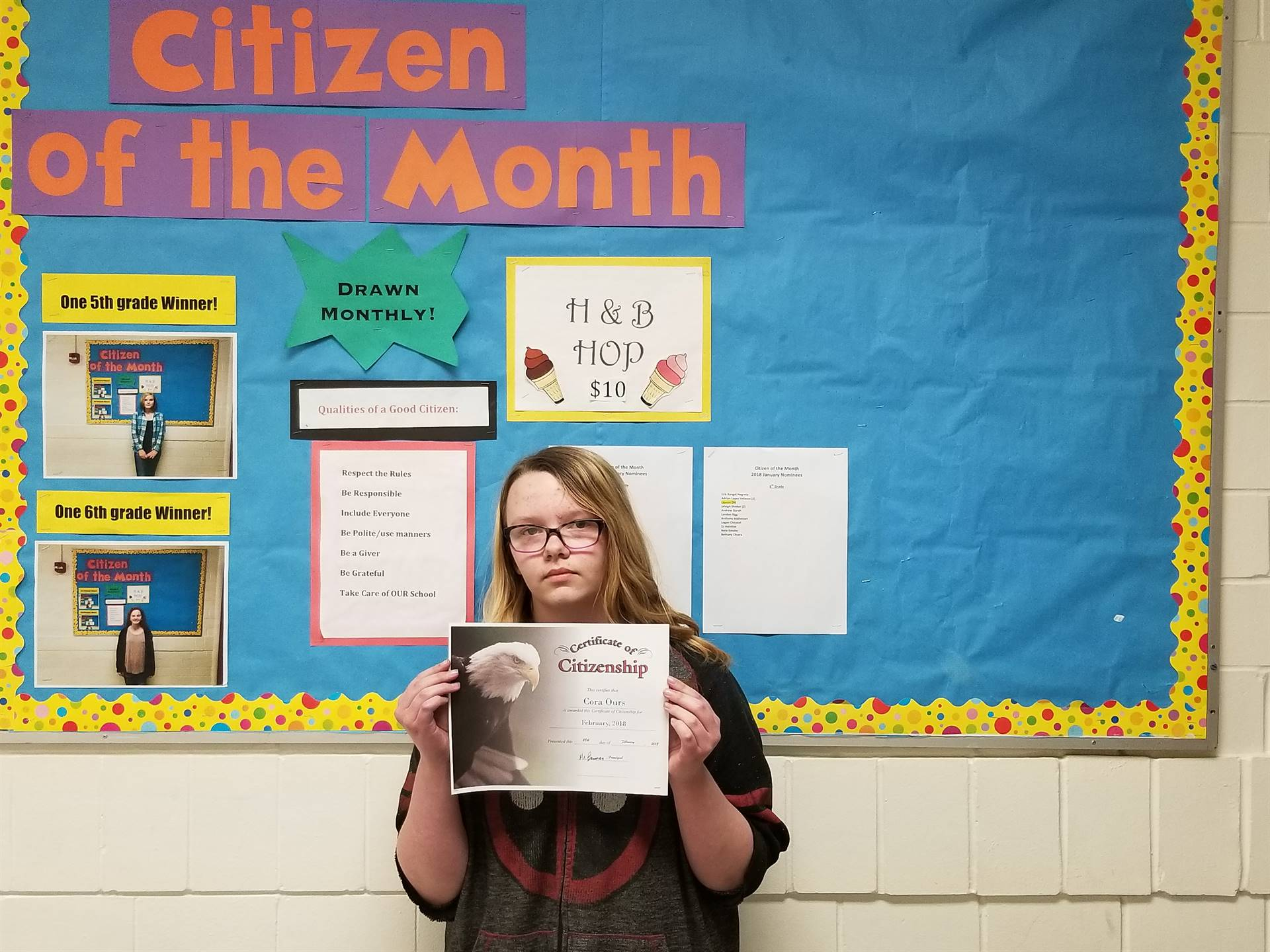 6th Grade Citizen of the Month (February 2018)
