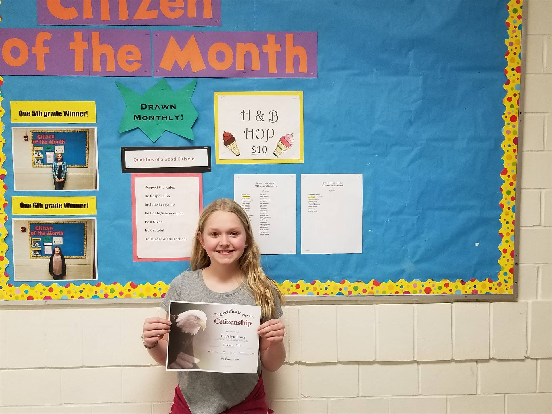5th Grade Citizen of the Month (February 2018)