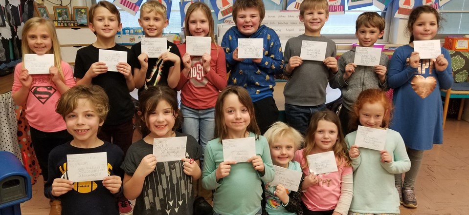 Students learned how to write letters and address envelopes in Mrs. Schlotterer's class