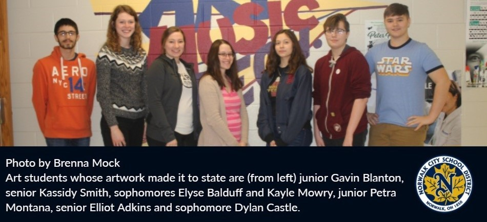 Photo by Brenna Mock Art students whose artwork made it to state are (from left) junior Gavin Blanton, senior Kassidy Smith, sophomores Elyse Balduff and Kayle Mowry, junior Petra Montana, senior Elliot Adkins and sophomore Dylan Castle.