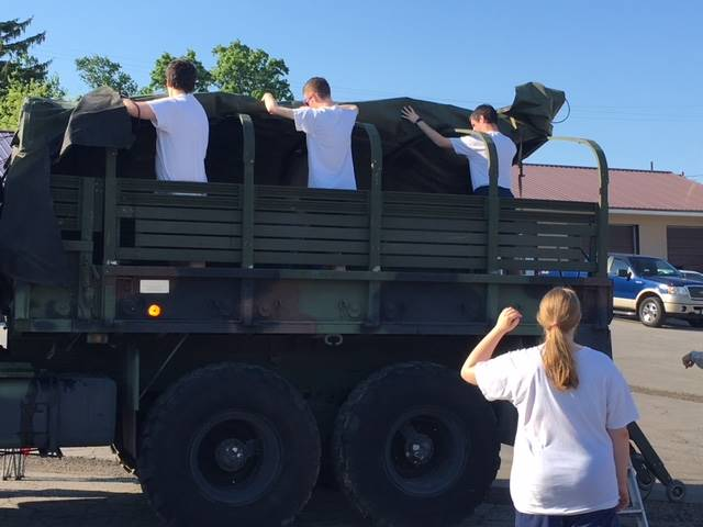 Band Members helping at the 4th of July parade