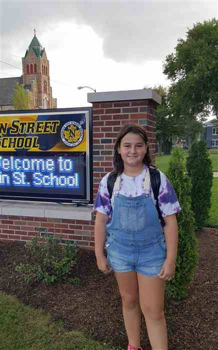 Student on first day of school