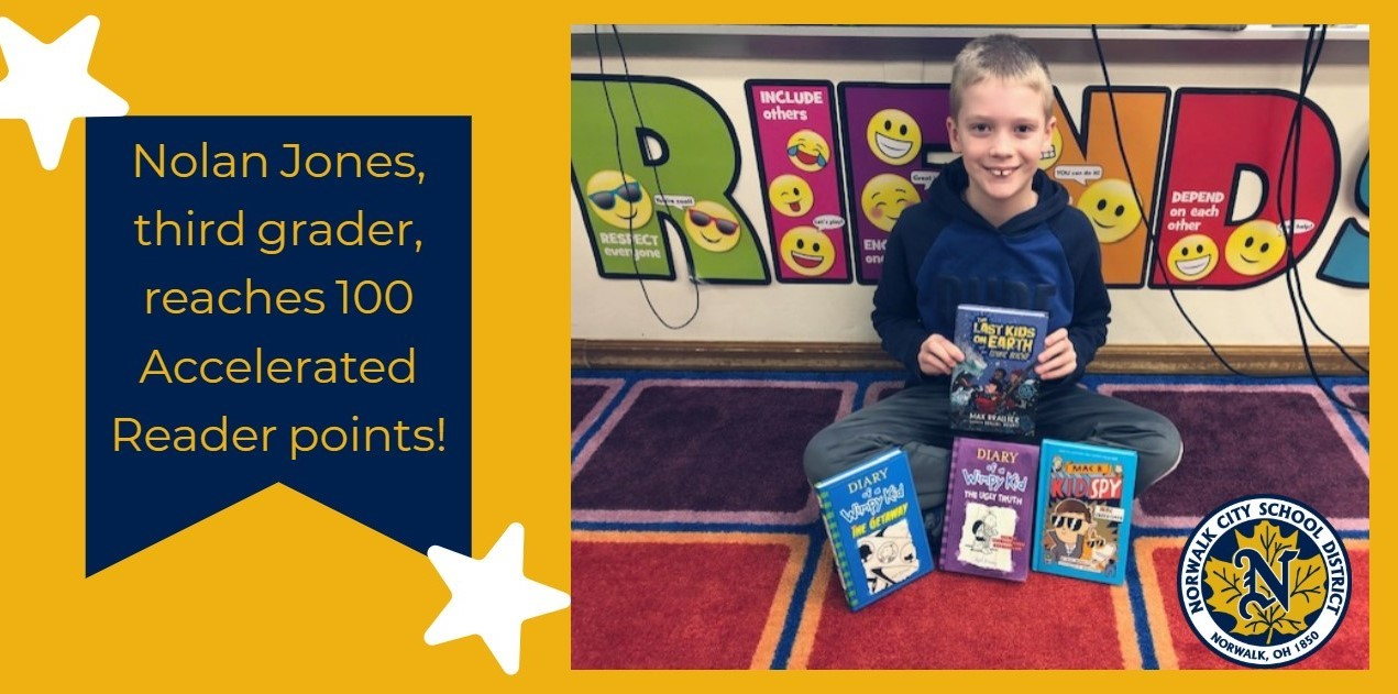 Nolan Jones reaches 100 Accelerated Reader Points