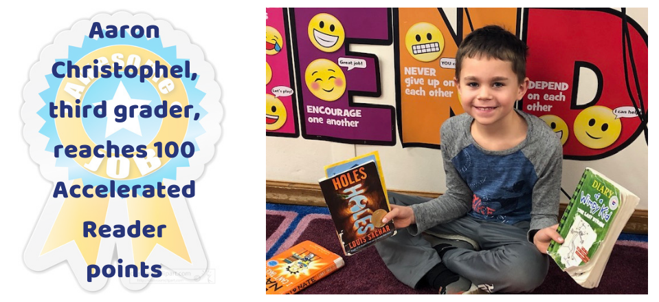 Aaron Christophel reaches 100 Accelerated Reader points