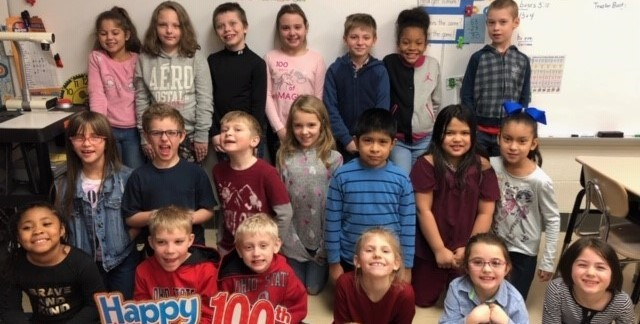 Mrs. Alexander's class celebrates the 100th day of school