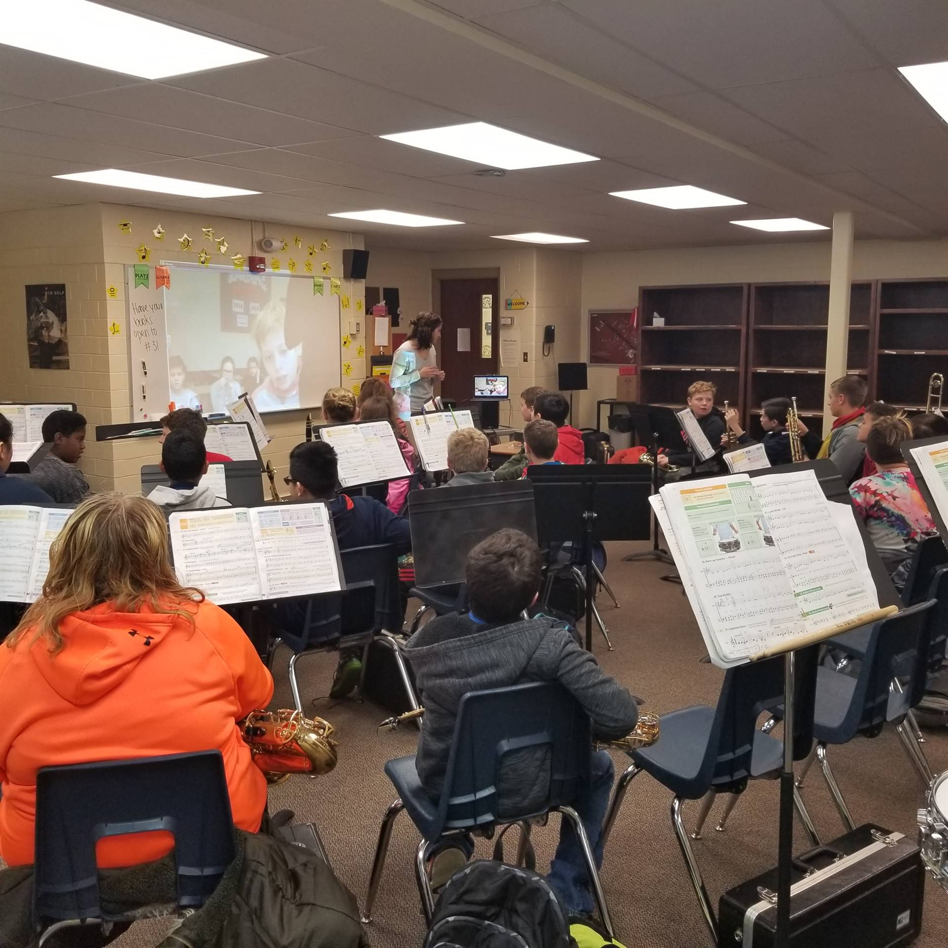 6th Grade Band Skyping with students in Poland
