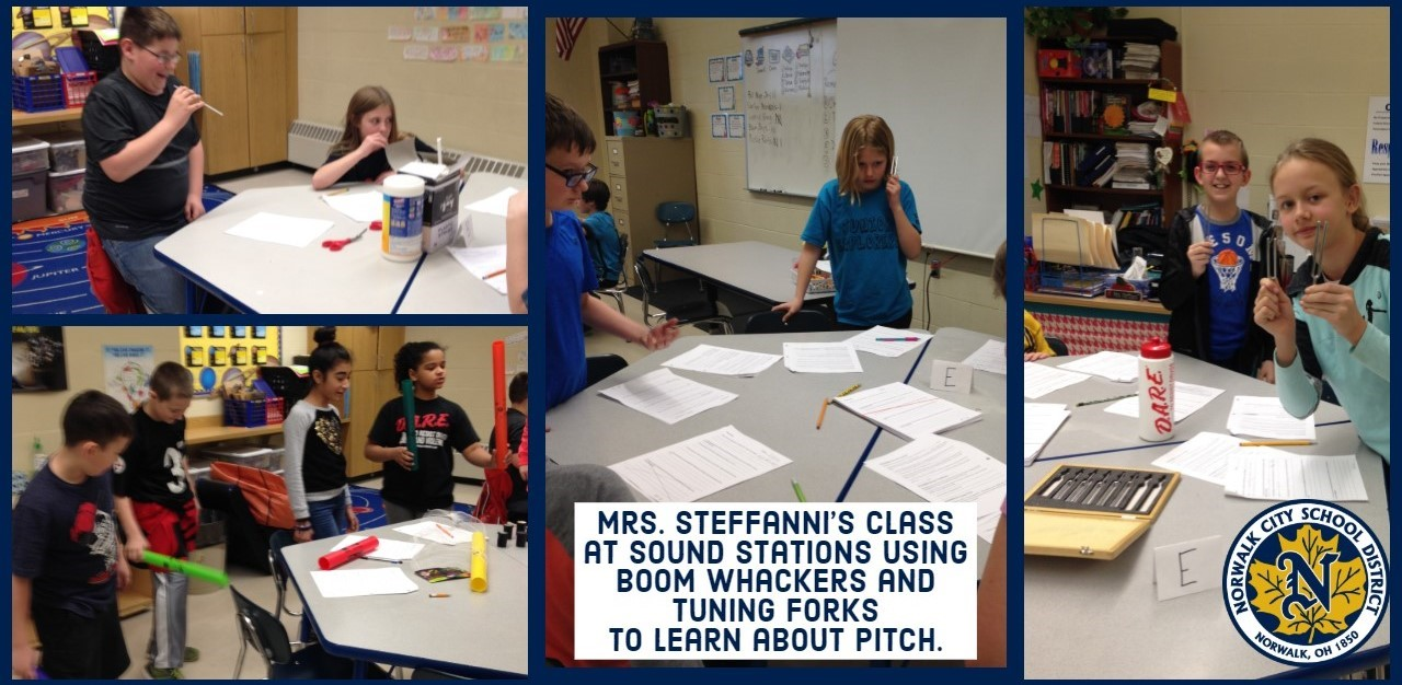 Mrs. Steffanni's class doing Sound Stations.Students used boom whackers and tuning forks to learn about pitch.