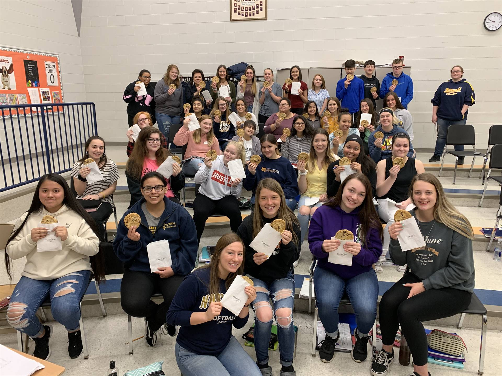 Music Boosters provided cookies to students