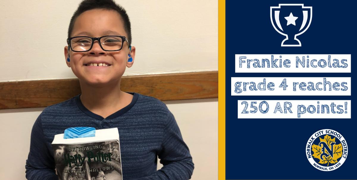 Frankie Nicolas grade 4 reaches 250 AR points