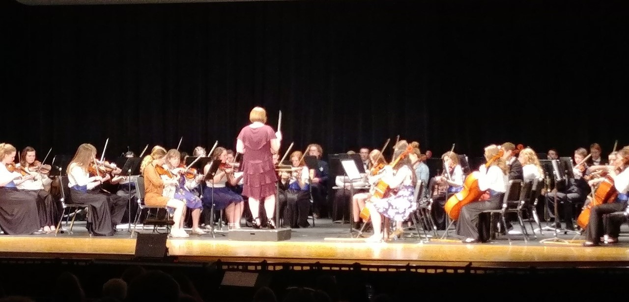 Senior S. Krichbaum directs the orchestra