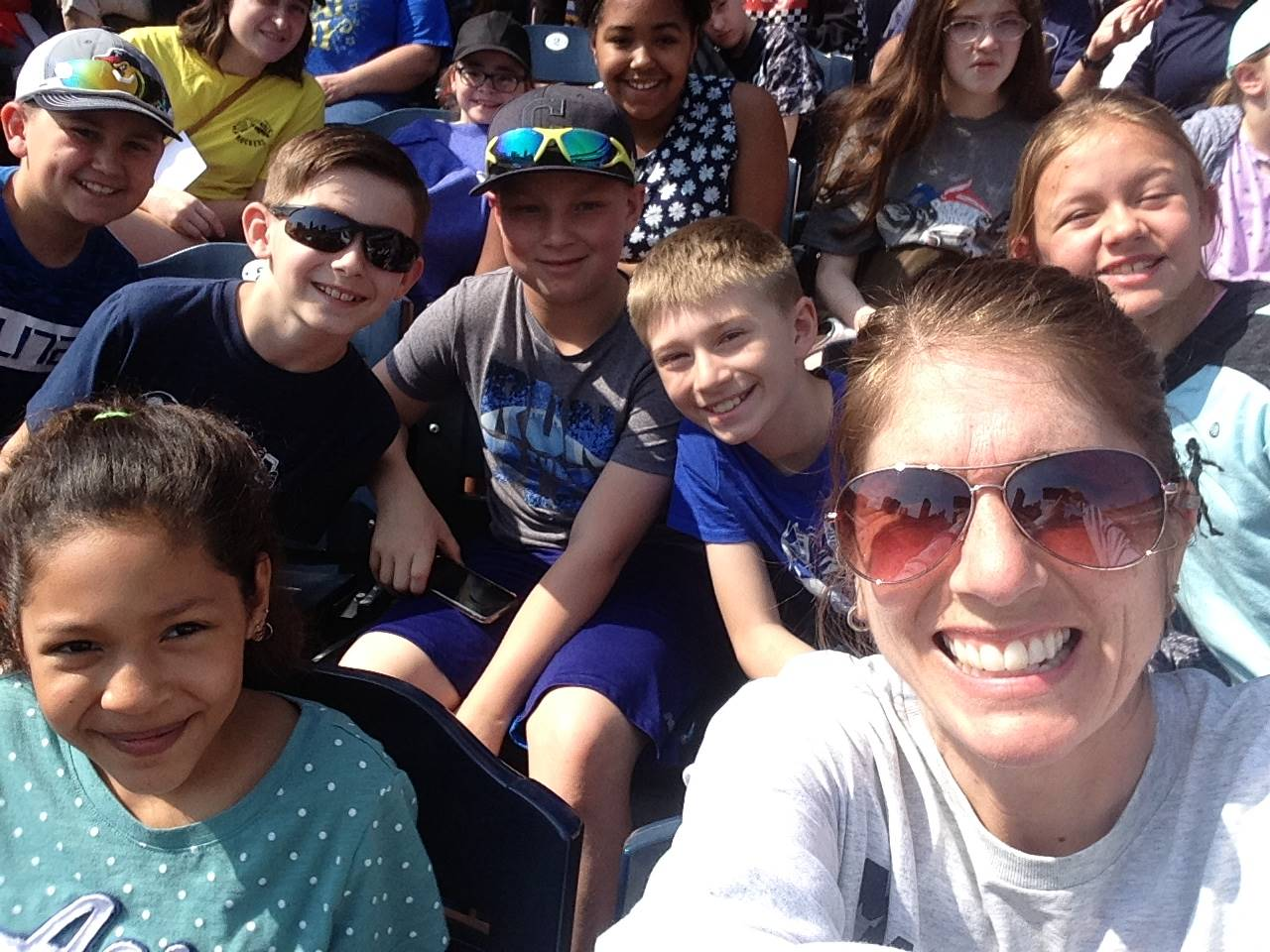 Students and Mrs. Steffanni enjoy the Mud Hens game
