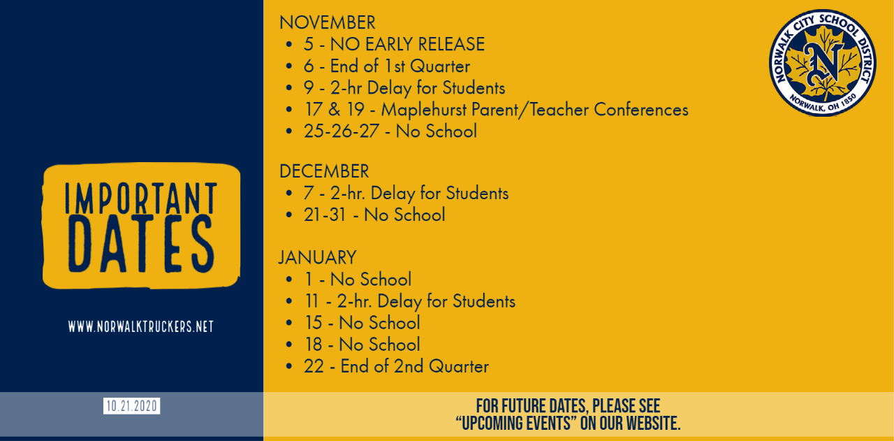 Important Dates as of Oct. 22, 2020