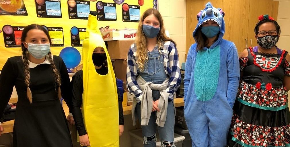 Kids dressed up for Halloween Mrs. Steffanni's class