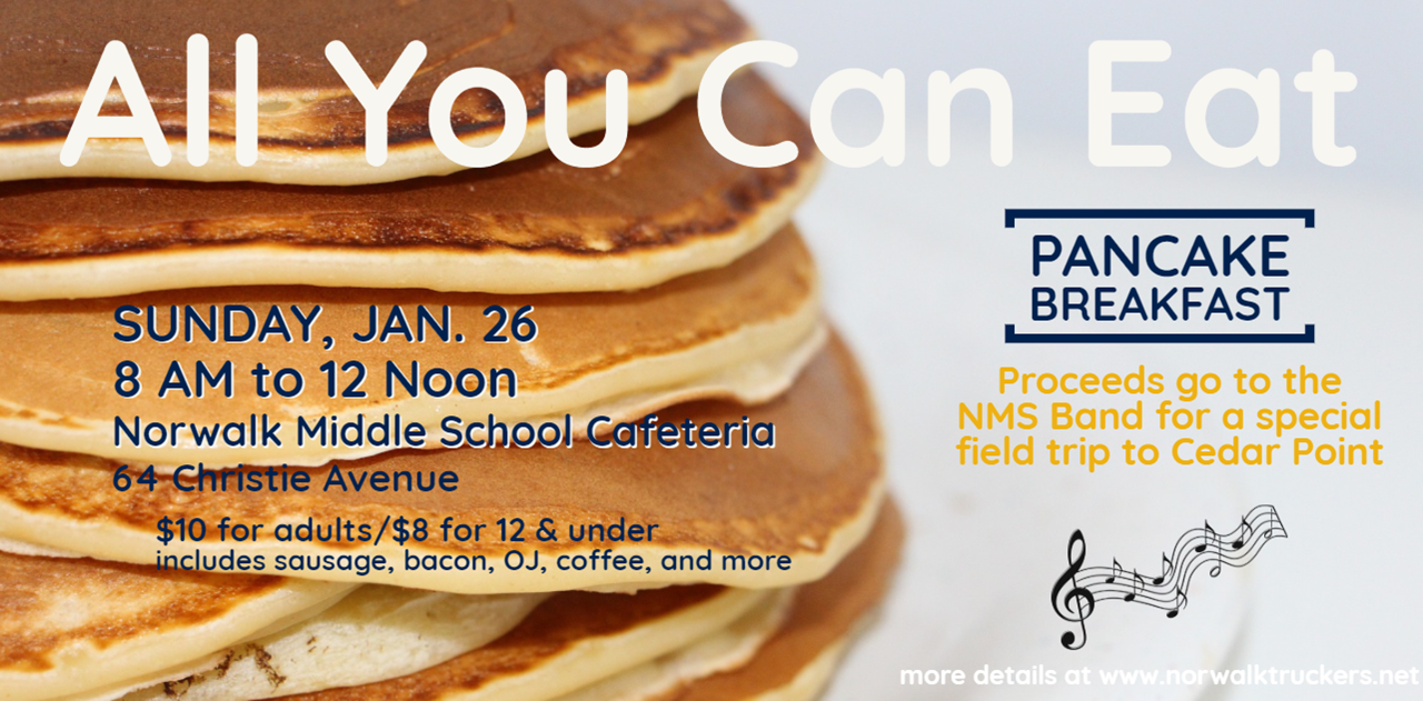 The middle school band is hosting a Pancake Breakfast at the Middle School to raise money for a field trip to Cedar Point where the students will play for a panel of judges, receive a rating and feedback, then spend a day at the park.