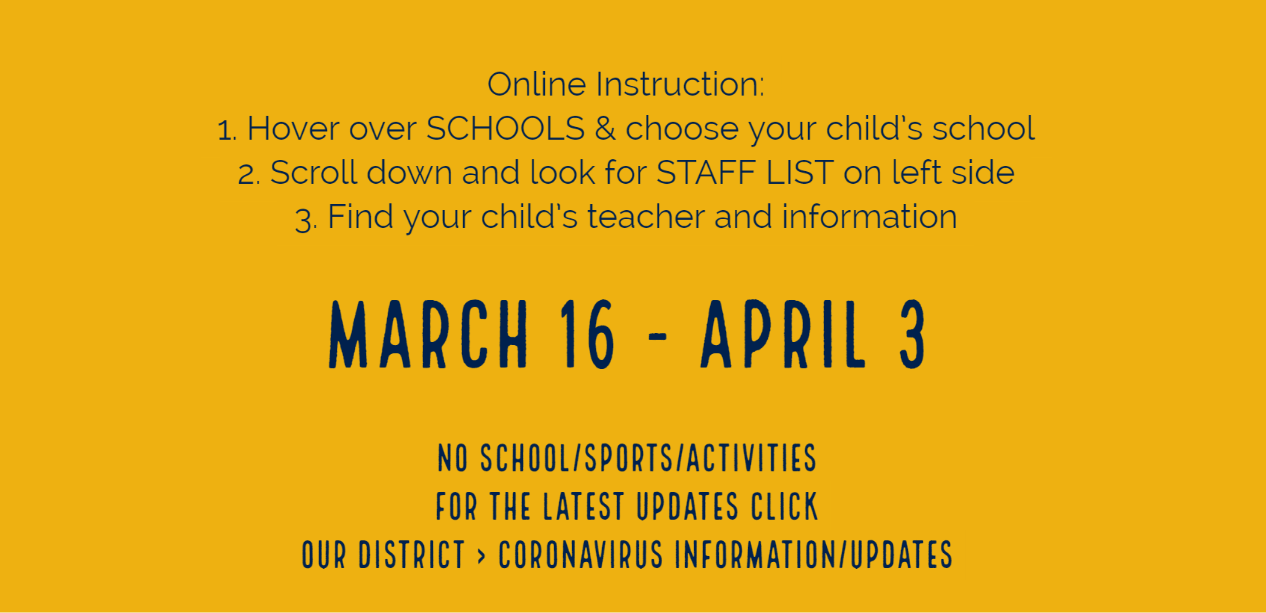 Online Instruction March 16 - April 3
