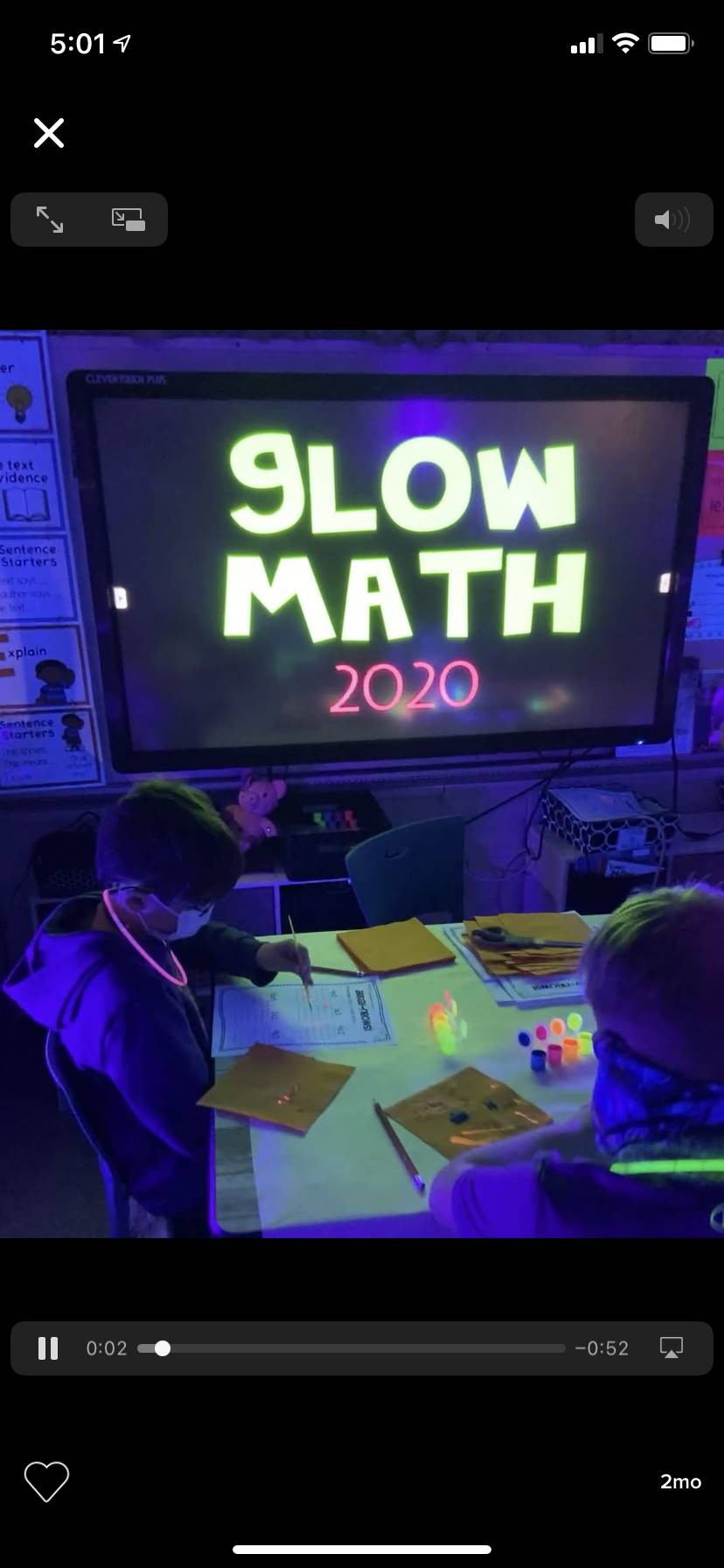 Mrs. Calhoun's class in a Glow Math activity with multiplication in the dark.