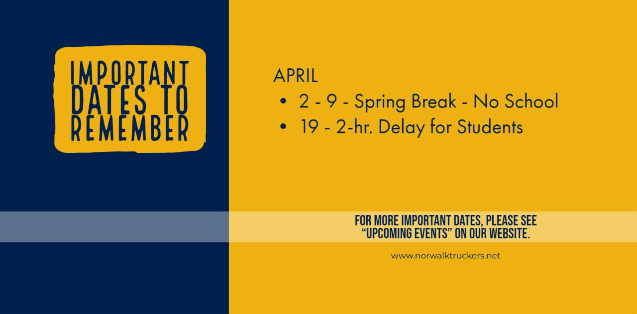 Important Dates April